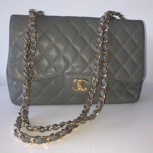 CHANEL Grey Caviar Quilted Jumbo Single Flap